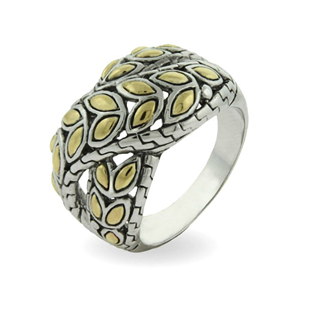 Designer Inspired Titanium Steel Flower Monogram Style Ring