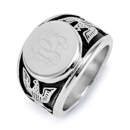 Men's Engravable American Bald Eagle Signet Ring in Stainless Steel