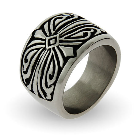 display slide 1 of 1 - Men's Engravable Tribal Design Stainless Steel Ring - selected slide