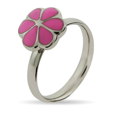 Pink Magnolia Enamel Stackable Ring | Eve's Addiction®