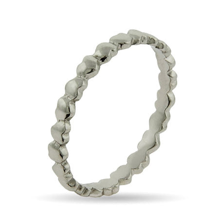 Band of Hearts Silver Stackable Ring