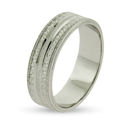 1/4 Inch Wide Stippled Wedding Band in Sterling Silver