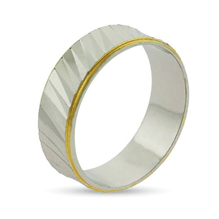 display slide 1 of 1 - Eternity by Eve Gold Lined Ridged Sterling Silver Wedding Ring - selected slide