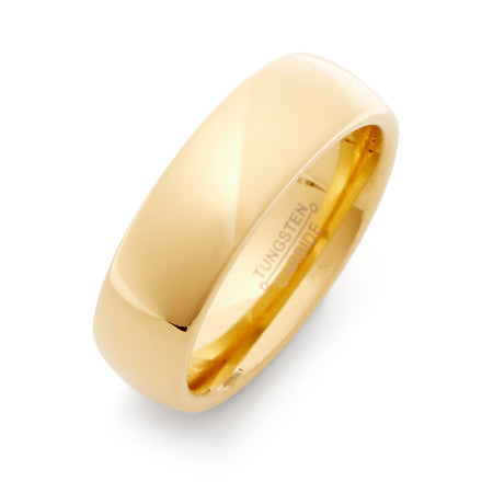 7 mm Gold Engravable Comfort Fit Tungsten Band