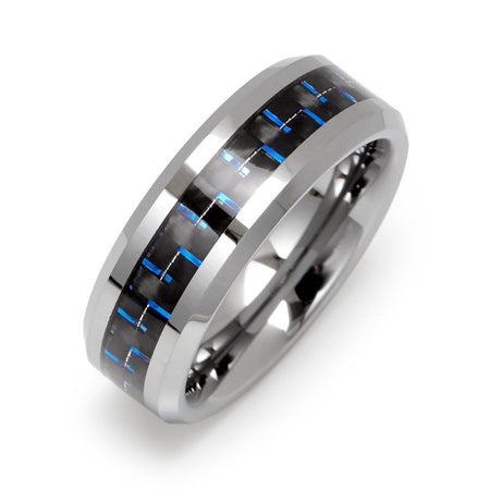 Men's Cobalt Blue Carbon Fiber Inlay Tungsten Ring