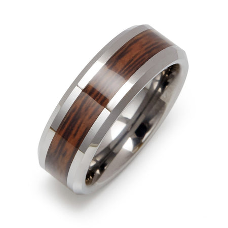 Wood Grain Inlay Engraved Tungsten Ring