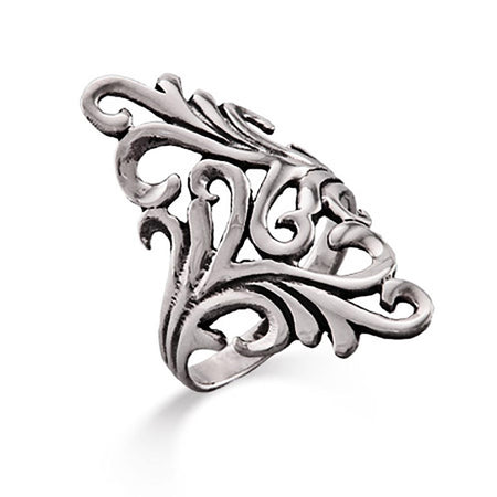 Long Ornate Design Sterling Silver Ring