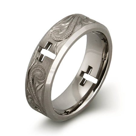 display slide 1 of 2 - Handcrafted Vine and Cross Cut Out Titanium Ring  - selected slide