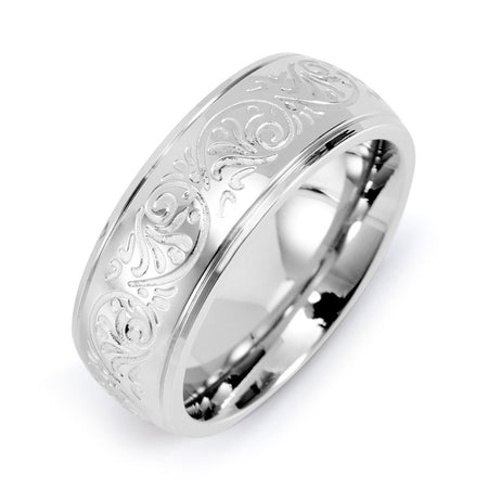 display slide 1 of 2 - Engravable Mens Stainless Steel Carved Design Ring - selected slide