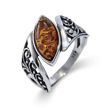 Genuine Baltic Amber Floral Marquise Sterling Silver Ring