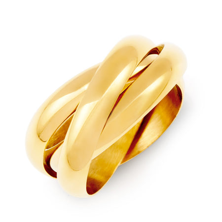 Engravable Gold Triple Roll Russian Wedding Ring