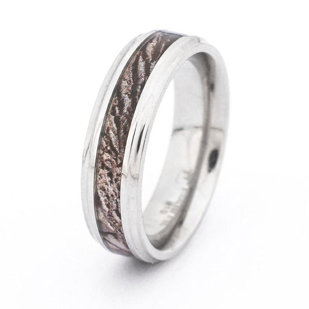 Camo Wood Design 6mm Stainless Steel Engravable Ring