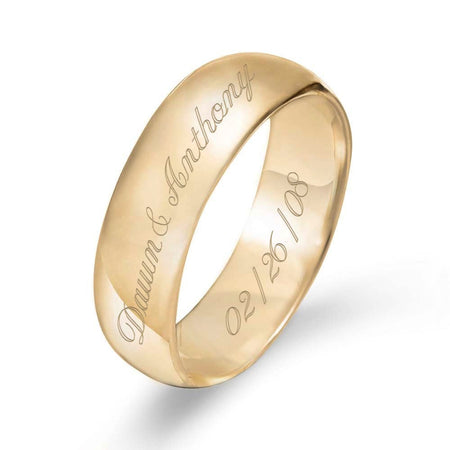 display slide 1 of 4 - Gold Engraved Couple's Message Ring - selected slide