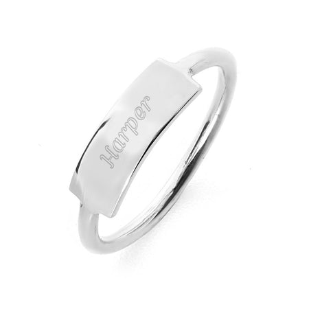 Petite Sterling Silver Personalized Bar Ring