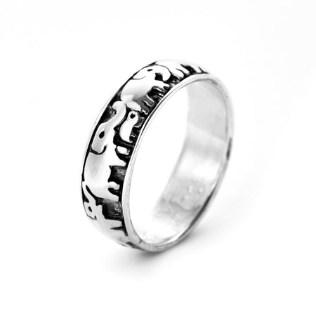 Engravable Lucky Elephant Sterling Silver Ring
