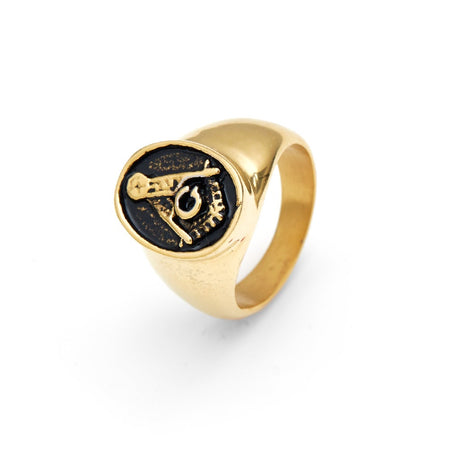 display slide 1 of 2 - Men's Gold Plated Masonic Ring in Stainless Steel - selected slide