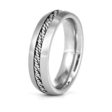 Men's Engravable Band with Rope Inlay
