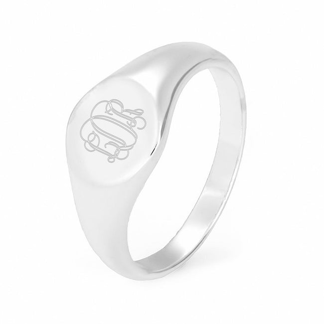 Petite Round Engravable Signet Ring in Sterling Silver