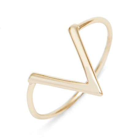 display slide 1 of 3 - Modern Gold V Ring | Gold V Shaped Band | Eves Addiction - selected slide