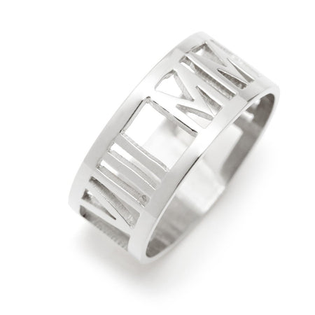 display slide 1 of 3 - Silver Roman Numeral Ring  - selected slide
