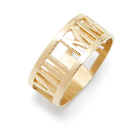 Gold Custom Roman Numeral Ring With Cut Outs