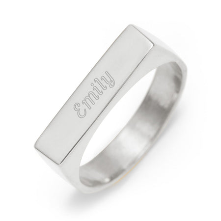 Custom Rectangle Name Bar Ring Silver