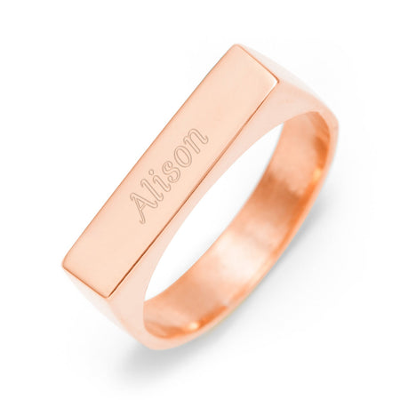 display slide 1 of 3 - Rose Gold Custom Name Engraved Ring - selected slide