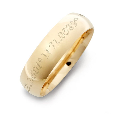 6mm Gold-Plated Sterling Silver Latitude And Longitude Band