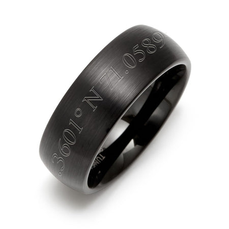 display slide 1 of 2 - Custom Made Coordinates Engraved Black Tungsten 8MM  Ring - selected slide