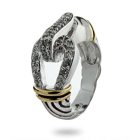 Designer Inspired Belt Buckle Ring with Pave Cubic Zirconia