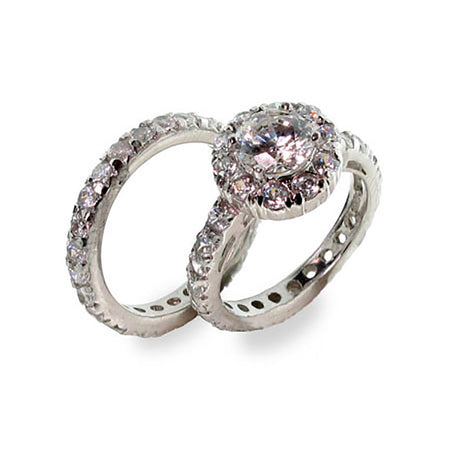 Celebrity Inspired Diamond Cubic Zirconia Engagement Ring Set