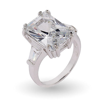 Sterling Silver Elegant Diamond CZ Engagement Ring