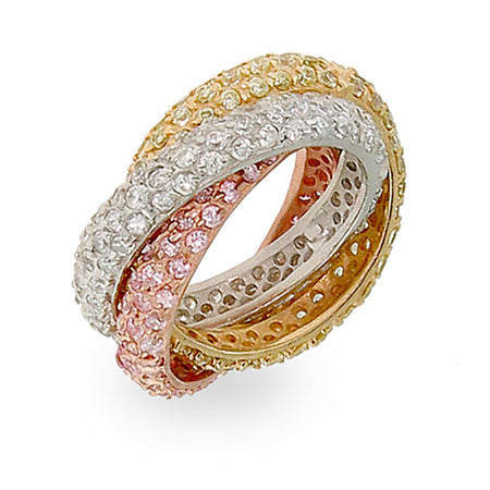Pave Rolling Trio Triple Roll Ring