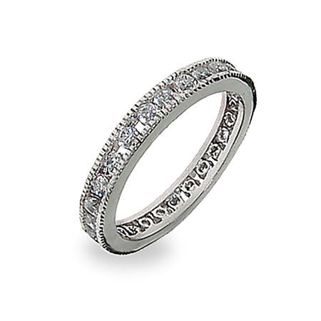 3mm Channel Set Round Stone CZ Stackable Band