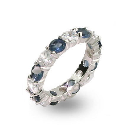 Sapphire and Clear CZ Silver Eternity Ring