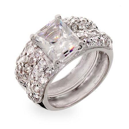 Emerald Cut CZ Sterling Silver Wedding Ring Set