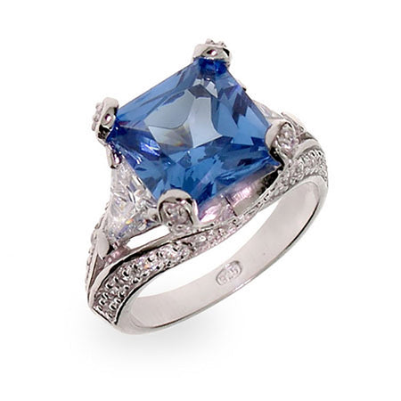 Princess Cut Blue CZ Vintage Style Silver Cocktail Ring