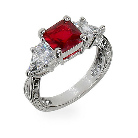 Ruby Red & Diamond CZ Silver Engagement Ring