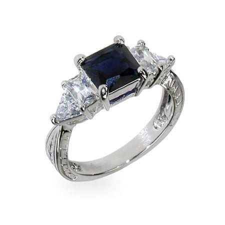 Sapphire and Diamond CZ Engagement Ring