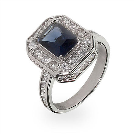 CZ Diamond And Sapphire Cocktail Ring