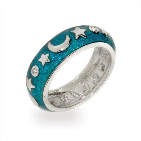 Moon and Stars Blue Enamel Ring