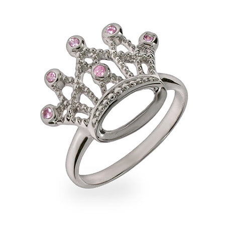 display slide 1 of 1 - Sterling Silver Pink CZ Crown Jewels Ring - selected slide