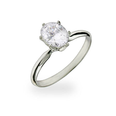Oval CZ Solitaire Ring