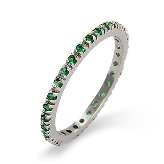 Emerald CZ Sterling Silver Stackable Eternity Band