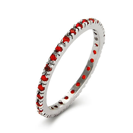 Silver Ruby CZ Stackable Eternity Band