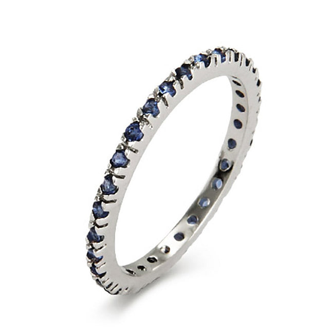 Sapphire CZ Thin Stackable Band in Sterling Silver