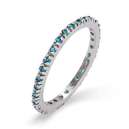 Blue Zircon CZ Stackable Eternity Silver Band