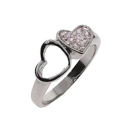 Joined Hearts CZ Sterling Silver Ring