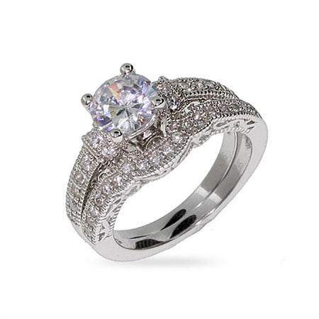 Victorian Style CZ Wedding Ring Set | Eve's Addiction®