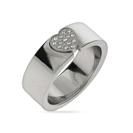 Pave CZ Heart Engravable Message Ring